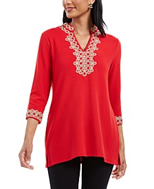 Petite 3/4-Sleeve Textured Tunic, Created for Macy's
