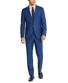 HUGO Hugo Boss Men's Slim-Fit Medium Blue Sharkskin Suit Separates