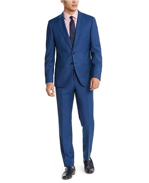 Hugo Boss HUGO Hugo Boss Men's Slim-Fit Medium Blue Sharkskin Suit Separates