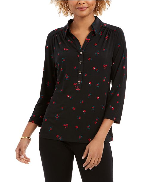 Charter Club Floral-Print Polo Top, Created For Macy's