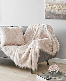 Longhair Faux-Fur Decorative Pillow and Throw Collection, Created For Macy's