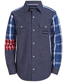 Big Boys Denim Remix Pieced Colorblocked Shirt