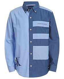 Big Boys Pieced Colorblocked Logo-Print Oxford Shirt