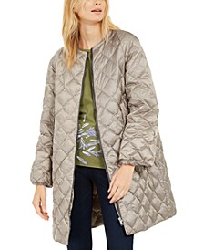 Collarless Quilted Puffer Coat
