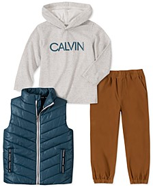 Little Boys 3-Pc. Aqua Nylon Vest, Gray Logo Hoodie & Khaki Twill Pants Set
