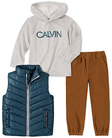 Calvin Klein Little Boys 3-Pc. Aqua Nylon Vest, Gray Logo Hoodie & Khaki Twill Pants Set