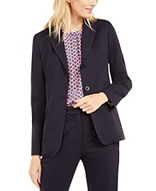Topstitched Lapel-Collar Two-Button Jacket