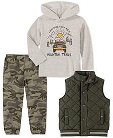 Little Boys 3-Pc. Green Quilted Vest, Cream Thermal Mountain Trail Hoodie & Camo Print Twill Jogger Pants Set