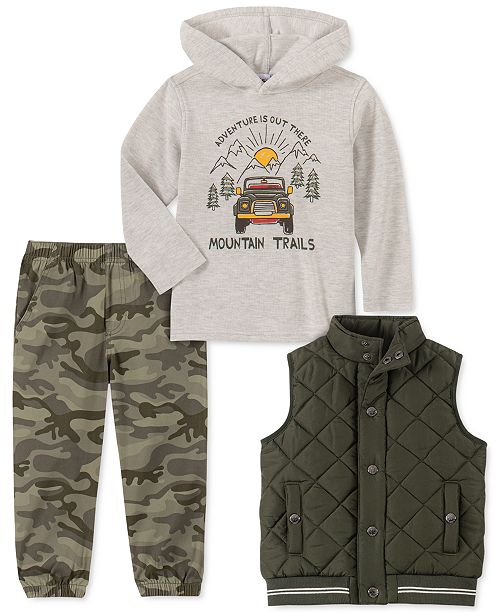 Kids Headquarters Toddler Boys 3-Pc. Green Quilted Vest, Cream Thermal Mountain Trail Hoodie & Camo Print Twill Jogger Pants Set