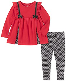 Toddler Girls Bow Tunic & Printed Leggings Set