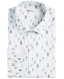 Men's Slim-Fit Performance Stretch Snowy Forest-Print Dress Shirt, Created For Macy's