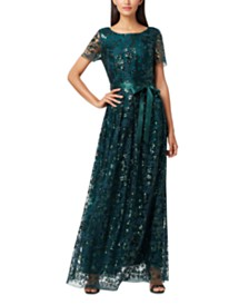 Tahari ASL Embroidered Lace Gown