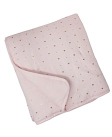 Quilted Comforter - Metallic Hearts + Solid Pink