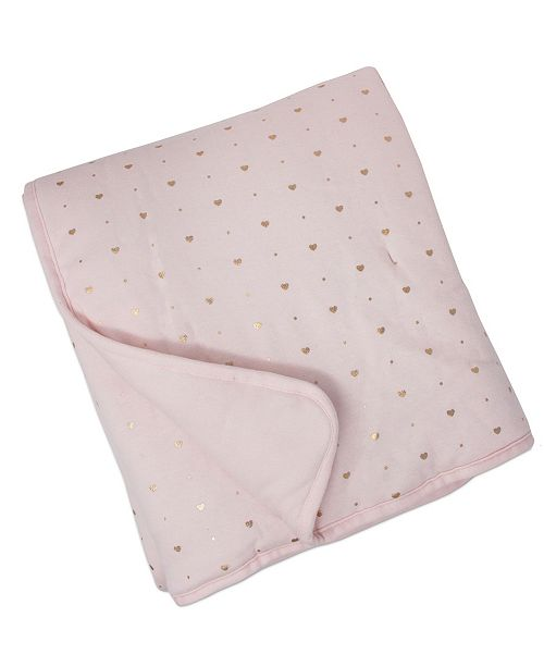 Living Textiles Quilted Comforter - Metallic Hearts + Solid Pink