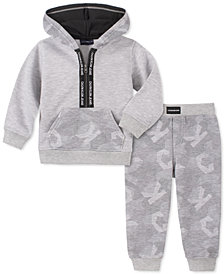 Calvin Klein Baby Boys 2-Pc. Logo-Print Hoodie & Jogger Pants Fleece Set