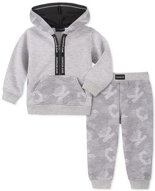 Calvin Klein Baby Boys 2-Pc. Logo-Print Hoodie & Jogger Pants Fleece Set