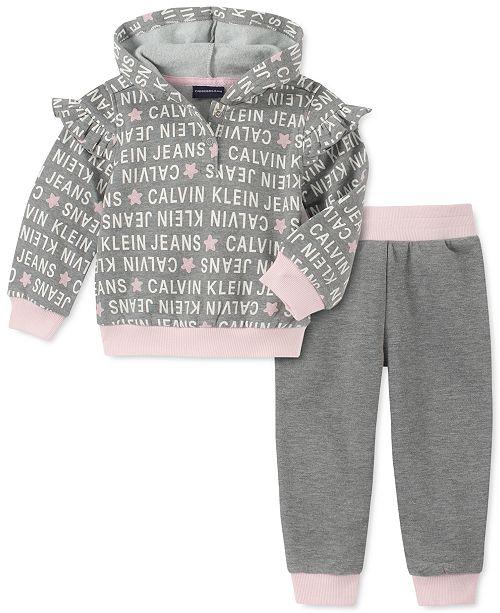 Calvin Klein Baby Girls 2-Pc. Hooded Sweatshirt & Jogger Pants Fleece Set