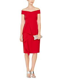 Off-The-Shoulder Side-Ruffle Sheath Dress
