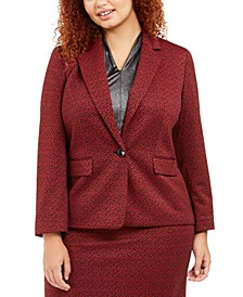 Plus Size One-Button Jacquard Blazer