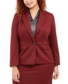 Plus Size One-Button Jacquard Blazer