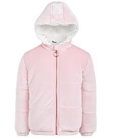 Toddler Girls Velvet & Faux-Fur Puffer Jacket, Created For Macy's