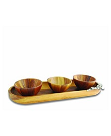Pewter Olive Wood Baguette Tray with 3 Bowls
