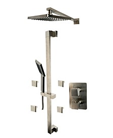 Brushed Nickel 3 Way Thermostatic Shower Set with Body Sprays