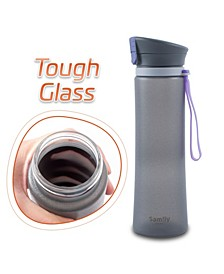 13 Oz Flip-Top Silicone Coated BPA-Free Glass Sports Bottle