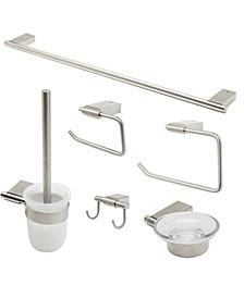 Brushed Nickel Matching Bathroom Accessory Set, 6 Piece