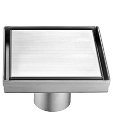 Modern Square Brushed Stainless Steel Shower Drain with Solid Cover