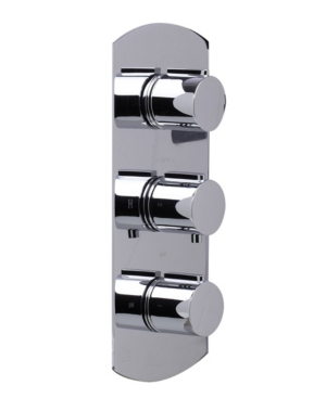 Alfi brand Polished Chrome Concealed 3-Way Thermostatic Valve Shower Mixer Round Knobs Bedding