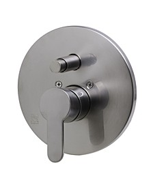 Brushed Nickel Shower Valve Mixer with Rounded Lever Handle and Diverter