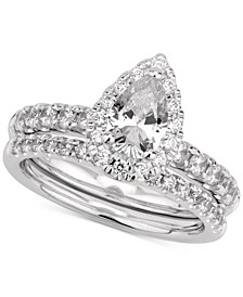 GIA Certified Diamond Pear Bridal Set (1-1/2 ct. t.w.) in 14k White Gold