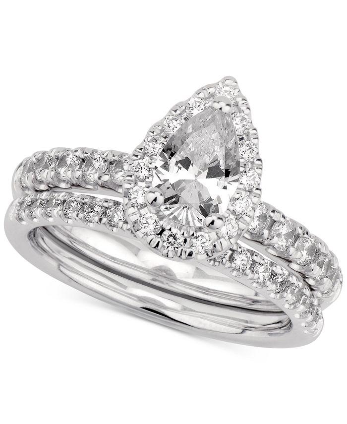 GIA Certified Diamonds - Certified Diamond Pear Bridal Set (1-1/2 ct. t.w.) in 14k White Gold