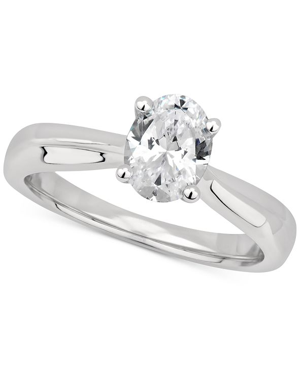 GIA Certified Diamonds GIA Certified Diamond Oval Solitaire Engagement Ring (1 ct. t.w.) in 14k White Gold