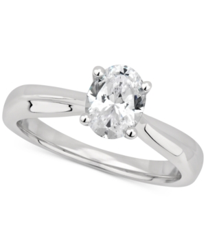 Gia Certified Diamond Oval Solitaire Engagement Ring (1 ct. t.w.) in 14k White Gold