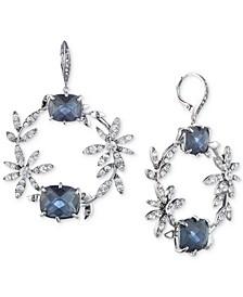 Silver-Tone Crystal Flower & Stone Drop Hoop Earrings