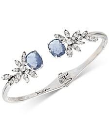 Silver-Tone Crystal & Stone Flower Cuff Bracelet