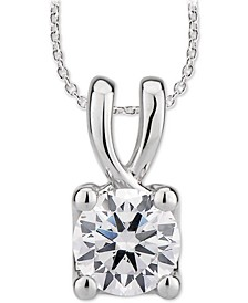"GIA Certified Diamond Solitaire Diamond 18"" Pendant Necklace (1/2 ct. t.w.) in 14k White Gold"