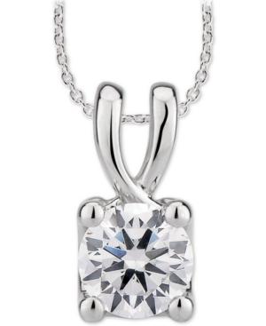 "Gia Certified Diamond Solitaire Diamond 18"" Pendant Necklace (1/2 ct. t.w.) in 14k White Gold"