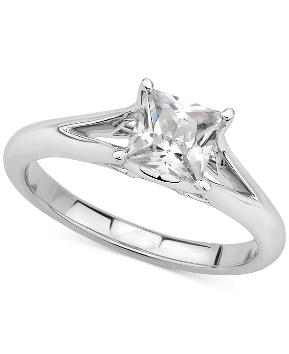 GIA Certified Diamonds GIA Certified Diamond Princess Solitaire Engagement Ring (1 ct. t.w.) in 14k White Gold