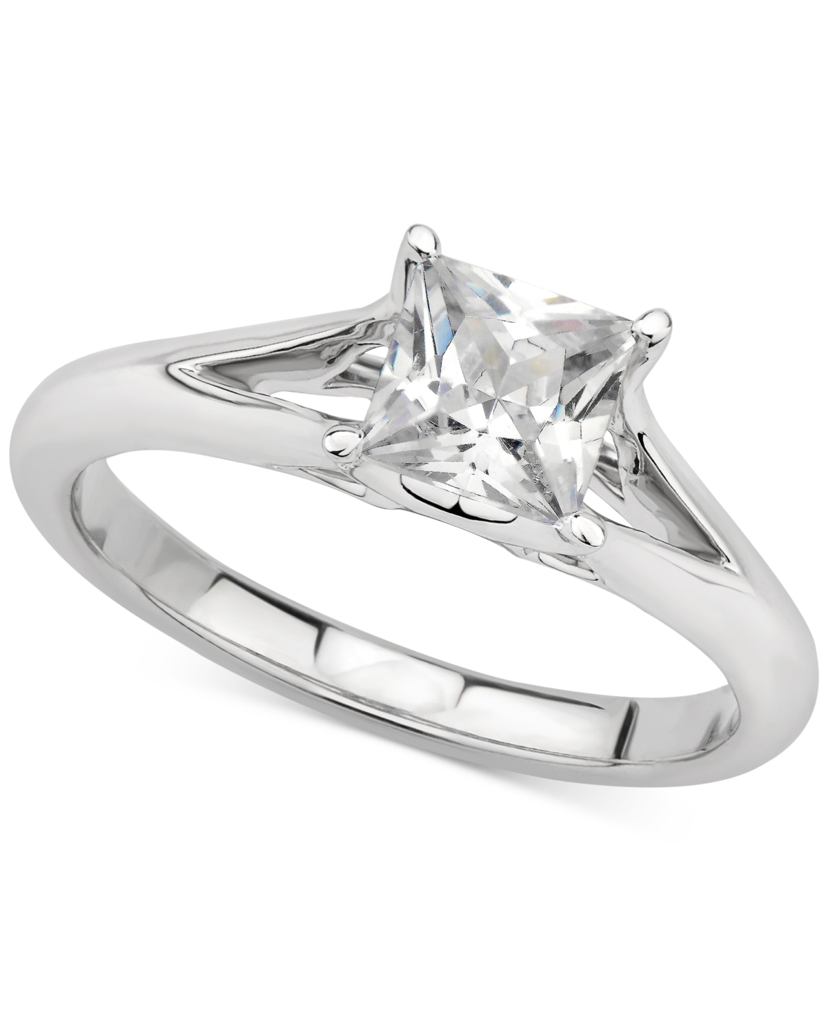 Gia Certified Diamond Princess Solitaire Engagement Ring (1 ct. t.w.) in 14k White Gold