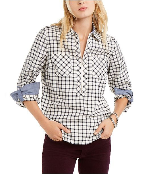 Tommy Hilfiger Printed Zippered Top, Created For Macy's
