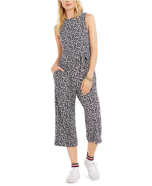 Tommy Hilfiger Printed Belted Jumpsuit, Created for Macy's