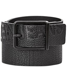 Big Boys Embossed Logo Leather Belt