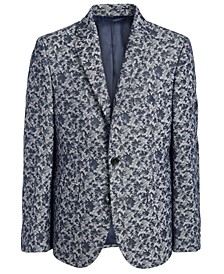 Big Boys Classic-Fit Stretch Gray/Blue Camouflage Sport Coat
