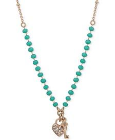 "Gold-Tone Green Bead & Crystal Heart & Key Pendant Necklace, 16"" + 3"" extender"
