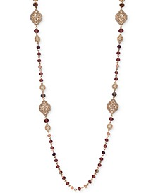 """Gold-Tone Beaded Strand 36"""" Long Necklace"""