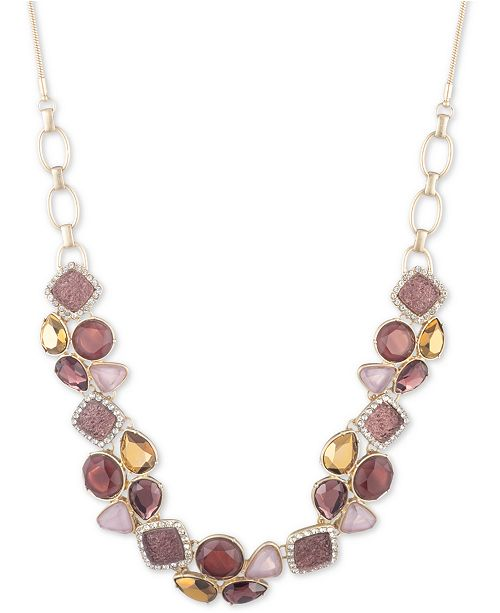"lonna & lilly Gold-Tone Multi-Stone 16"" Frontal Necklace"
