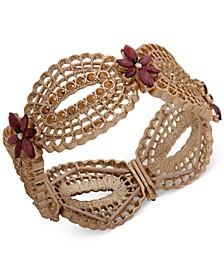 Gold-Tone Pavé & Stone Flower Openwork Stretch Bracelet